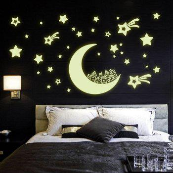 Luminous Removable Wall Stickers The Moon House Stars Pattern Noctilucence Wallpaper