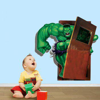Cartoon Green Giant Style Creative 3D Wall Sticker Removable Wallpaper Water Resistant Home Art Decals