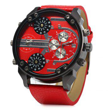 Geneva 409 Decorative Sub-dials Four Movt Quartz Watch for Men