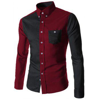 Turn-Down Collar Color Block Spliced Long Sleeve Pocket Button-Down Men's Shirt - RED WITH BLACK L