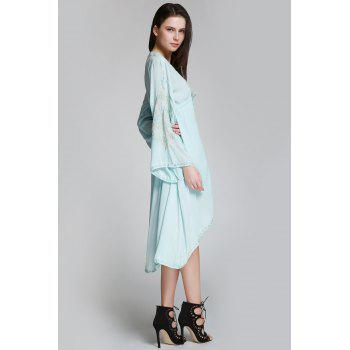 Flare Sleeve Shapeless Embroidered Dress - LIGHT BLUE LIGHT BLUE