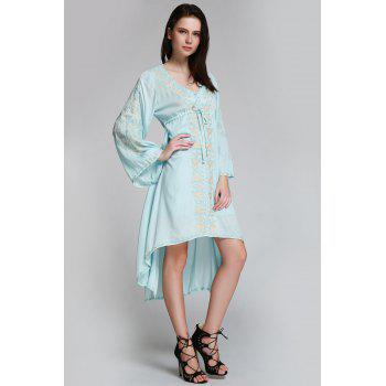 Flare Sleeve Shapeless Embroidered Dress - LIGHT BLUE L