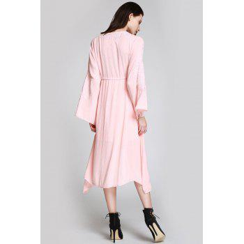 Flare Sleeve Shapeless Embroidered Dress - SHALLOW PINK M