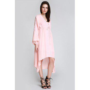 Flare Sleeve Shapeless Embroidered Dress - SHALLOW PINK SHALLOW PINK