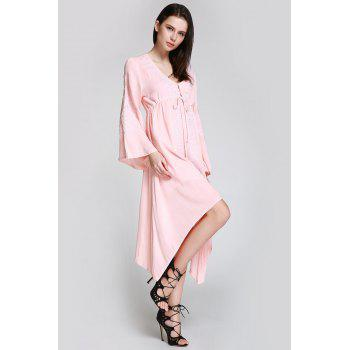 Flare Sleeve Shapeless Embroidered Dress - L L