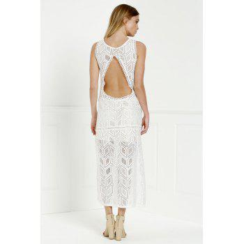 Cut Out Fitted Lace Slit Maxi Dress - WHITE WHITE