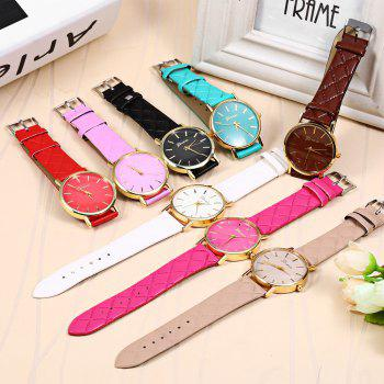 Women Quartz Watch Checks Leather Band Round Dial - COFFEE