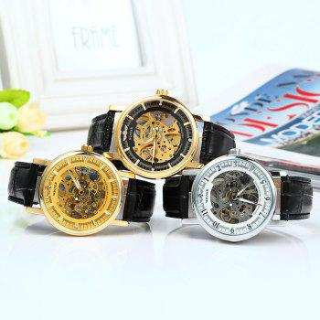 Winner W088 Men Mechanical Hollow Out Watch Leather Band Round Dial -  WHITE