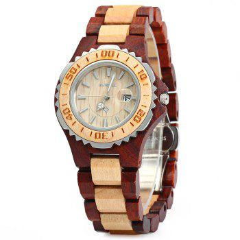 BEWELL ZS-100BL Wooden Women Quartz Watch with Luminous Hands Metal Case 30M Water Resistance