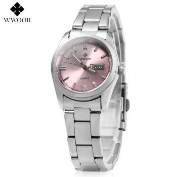 WWOOR 8804 Steel Band Ladies Quartz Watch Luminous 30M Water Resistant