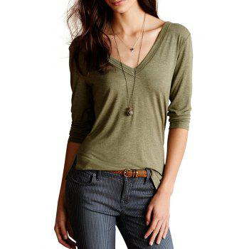 Casual V-Neck 3/4 Sleeve Solid Color Irregular Hem Women's T-Shirt