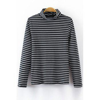 Stylish Turtle Neck Long Sleeve Striped Women's T-Shirt