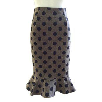 Stylish Polka Dot Back Slit Mermaid Women's Skirt