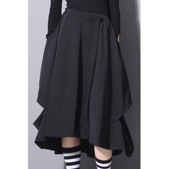 Stylish Solid Color Cut Out Irregular Hem Women's Skirt