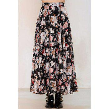 Fashion High Waisted Floral Print Women's Pleated Skirt