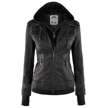 Fashion Hooded Collar Long Sleeve Solid Color PU Leather Spliced Women's Jacket