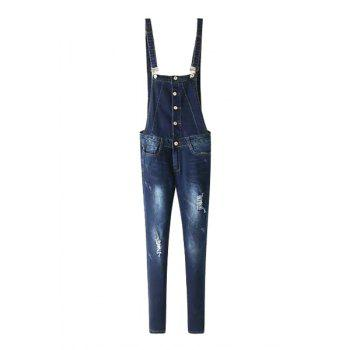 Stylish Slimming Ripped Denim Women's Overalls
