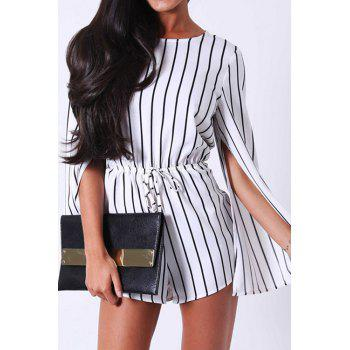 Stylish Jewel Neck Long Sleeve Stripe Women's Romper