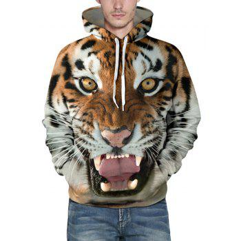 Hot Sale Drawstring Hooded Front Pocket Cool 3D Tiger Print Long Sleeves Men's Loose Fit Hoodie - COLORMIX L