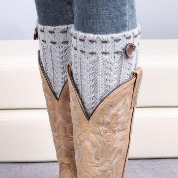 Pair of Chic Strappy and Button Embellished Women's Knitted Boot Cuffs - LIGHT GRAY LIGHT GRAY