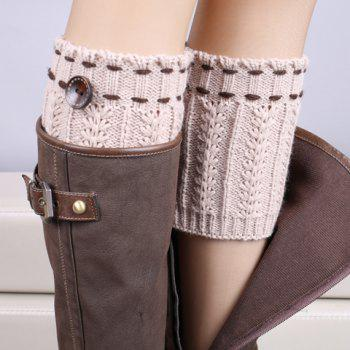 Pair of Chic Strappy and Button Embellished Women's Knitted Boot Cuffs - LIGHT KHAKI LIGHT KHAKI