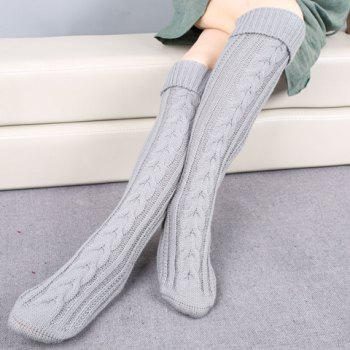 Pair of Chic Solid Color Flanging Hemp Flowers Women's Knitted Stockings - LIGHT GRAY