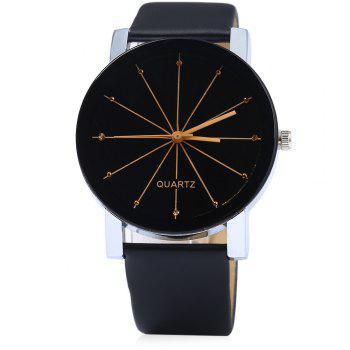 Men Quartz Watch Line Dial Leather Band - BLACK