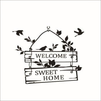 New Welcome Sweet Home Wall Sticker For Living Room - BLACK