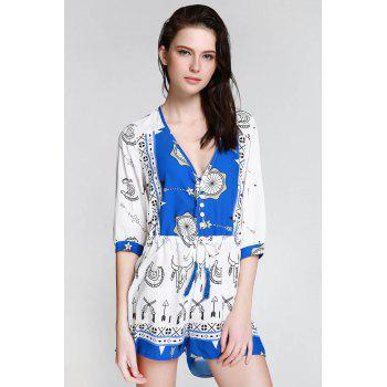Stylish Plunging Neck 3/4 Sleeve Ethnic Print Women's Playsuit - BLUE AND WHITE BLUE/WHITE