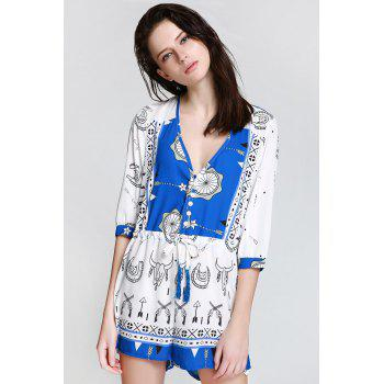 Stylish Plunging Neck 3/4 Sleeve Ethnic Print Women's Playsuit - BLUE/WHITE BLUE/WHITE