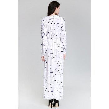 Shirt Neck Long Sleeve Ink Print Maxi Swing Dress - WHITE XL