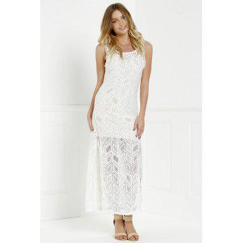 Cut Out Fitted Lace Slit Maxi Dress - WHITE L