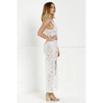 Cut Out Fitted Lace Slit Maxi Dress - WHITE M