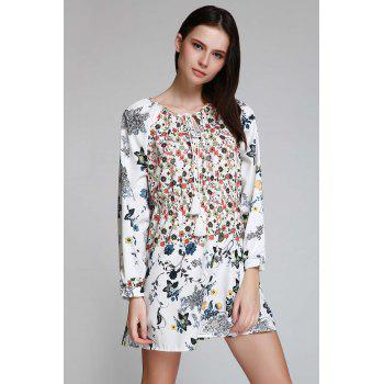 Bohemian V-Neck Tiny Floral Print Tunic Dress - WHITE S