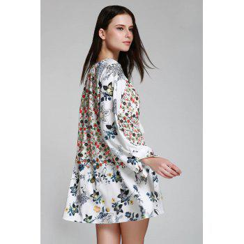 Bohemian V-Neck Tiny Floral Print Tunic Dress - WHITE L