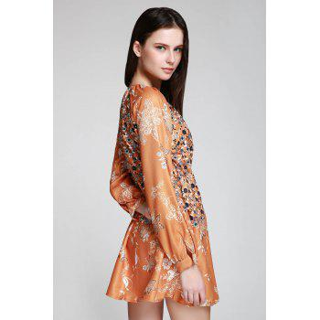 Bohemian V-Neck Tiny Floral Print Tunic Dress - YELLOW M