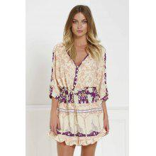 Stylish V-Neck 3/4 Sleeve Floral Print Loose-Fitting Women's Tunic Dress