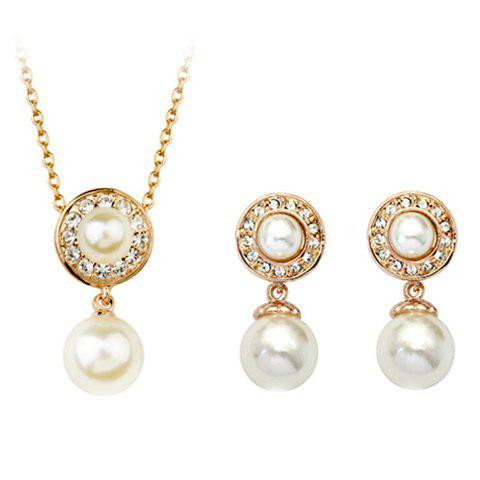 A Suit of Exquisite Faux Crystal Rhinestone Round Necklace and Earrings For Women - GOLDEN