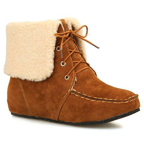 Leisure Stitching and Increased Internal Design Short Boots For Women - BROWN 36