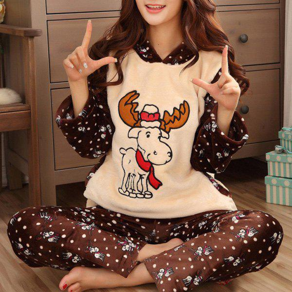 Chic Hooded Snowflake and Elk Printed Fleeced Christmas Pajama For Women - BROWN L
