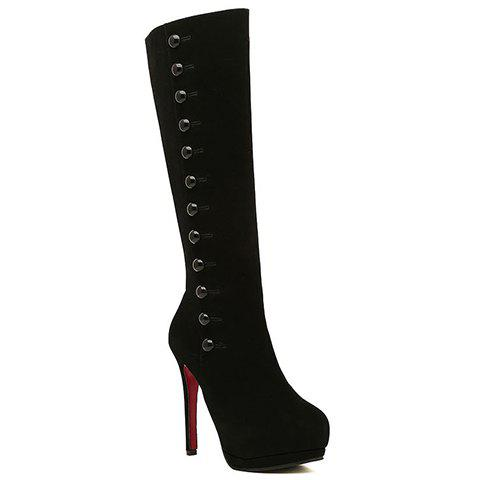 Sexy Buttons and Suede Design High Heel Boots For Women - BLACK 39