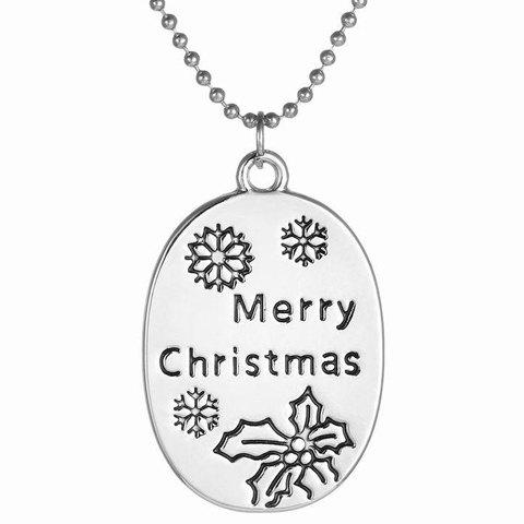 Chic Engraved Merry Christmas Pendant Necklace Jewelry For Women - SILVER