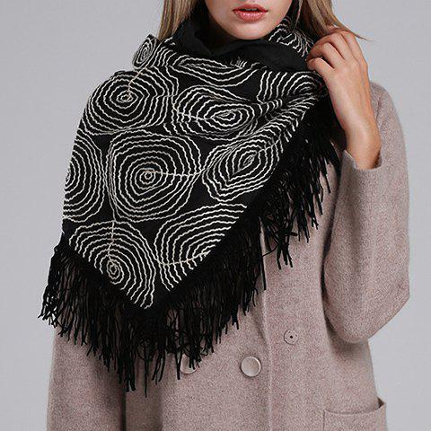 Chic Circle Round Embroidery Tassel Women's Triangle Pashmina - BLACK