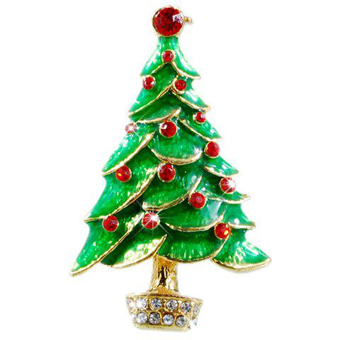 Chic Rhinestone Christmas Tree Brooch Jewelry For Women - GREEN