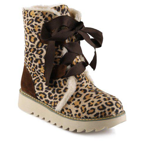 Sweet Lace-Up and Leopard Print Design Women's Snow Boots