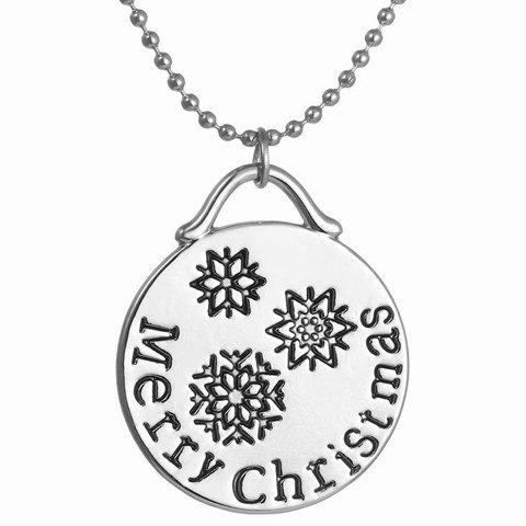 Stylish Engraved Merry Christmas Pendant Necklace Jewelry For Women - SILVER