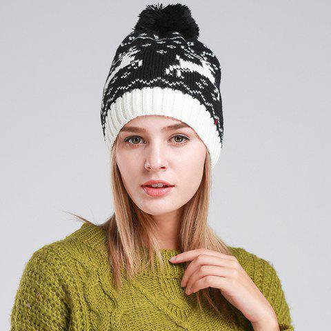 Chic Woolen Yarn Ball Embellished Christmas Deer Pattern Women's Knitted Hat - BLACK
