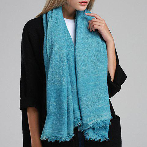 Chic Fringed Edge Solid Color Women's Biservice Scarf - BLUE