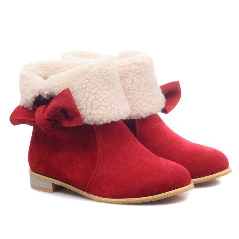 Fashion Suede and Bow Design Women's Short Boots - RED 36