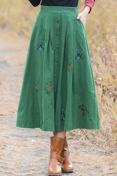 Vintage Style Buttoned Flower Embroidery A Line Skirt - GREEN ONE SIZE(FIT SIZE XS TO M)